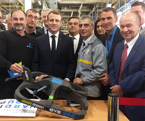 Hardis Group's inventory-taking drone solution, Eyesee, was presented to French President Emmanuel Macron and Renault Chairman and CEO Carlos Ghosn when they visited the Maubeuge plant